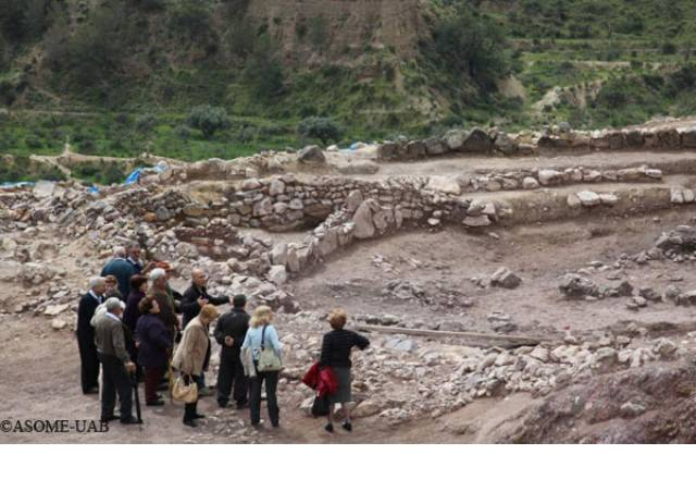 Group of visitors in the archaeological site.